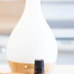 pink pepper essential oil infront of a diffuser.