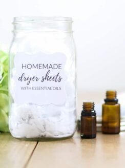 Homemade dryer sheets with essential oils.