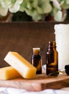 Top 5 natural skin care ingredients stacked on wooden countertop.