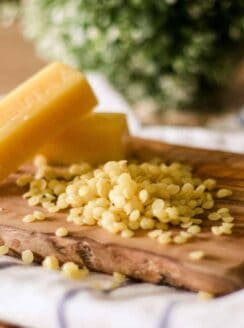 Beeswax pellets and bars.