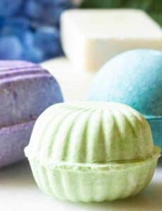 Tropical colored bath bombs in various shapes.