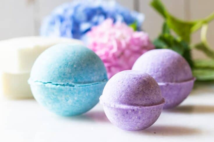 Homemade tropical scented bath bombs.