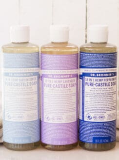 Dr Bronners castile soaps lined up.