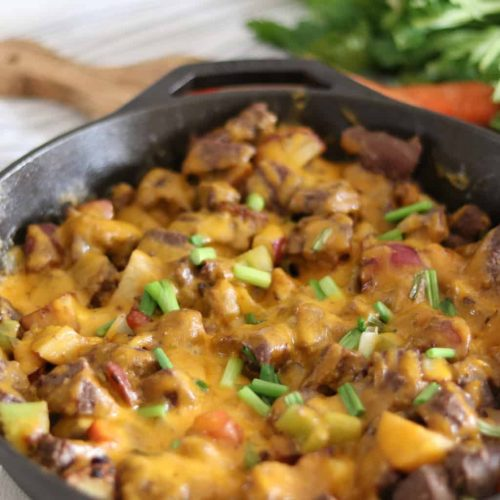 Sharp cheddar cheese, deer steak, red potatoes, carrots, celery, and onion one dish healthy meal recipe.
