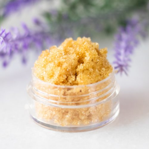lavender lip scrub in small container with lavender flowers