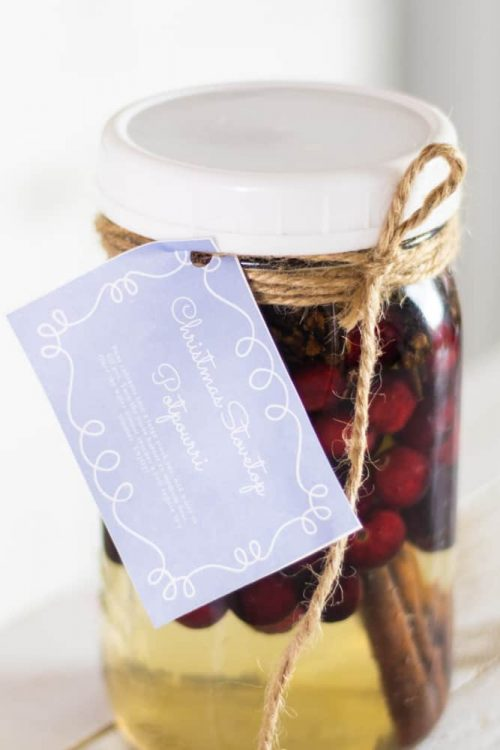 mason jar full of potpourri with gift tag